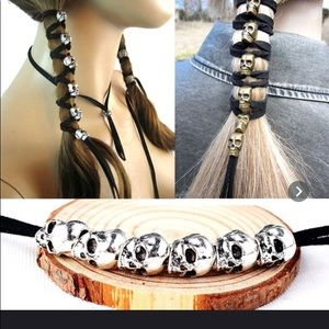 Black Leather Rope Skull Hair Tie Accessorie